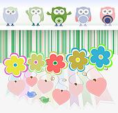 sweet owls, flowers, love hearts and cute birds