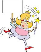 Cartoon fairy godmother with a sign