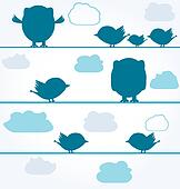 silhouettes of Birds and owls on wires