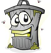 Smiling Trash Can Cartoon Character