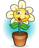 Smiling Potted Flower Cartoon