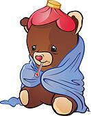 Sick Teddy Bear Cartoon Character