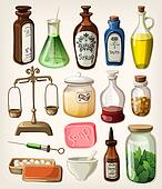 Set of vintage apothecary supplies