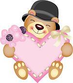 Cute teddy bear with heart
