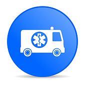 ambulance blue circle web glossy icon