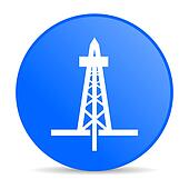 drilling blue circle web glossy icon
