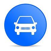car blue circle web glossy icon