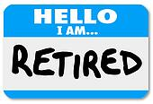 Hello I Am Retired Words Nametag Sticker Older Person