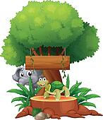 Illustration of a turtle and an elephant under the big tree with a wooden signboard on a white background