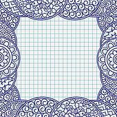 Ball pen drawn frame in japanese ornament style, school notebook paper