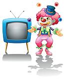 A clown standing near the T.V.