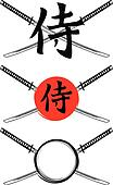 hieroglyph samurai and crossed samurai swords