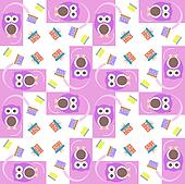 cute owl card. Baby girl arrival announcement card. Seamless pink background pattern