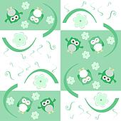 Cute seamless flower owl background pattern