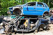 junk cars in a junkyard