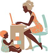 Beautiful silhouette of mother ? freelancer with notebook and