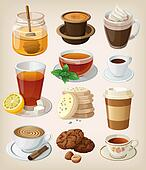 Set of delicious hot drinks: coffee