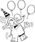 Cartoon Birthday Elephant Jumping (