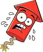 Cartoon Worried Firecracker