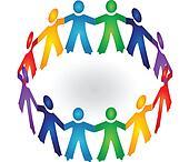 Teamwork holding hands logo vector