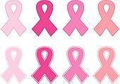 Pink cancer ribbon set isolated on white