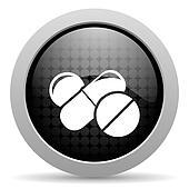 pills black circle web glossy icon