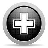 pharmacy black circle web glossy icon