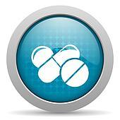 pills blue circle web glossy icon