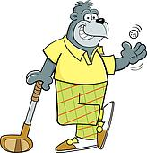 Cartoon gorilla golfer