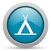 camping blue circle web glossy icon