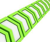 Green arrows in a line