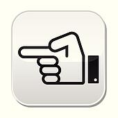 Pointing hand vector button