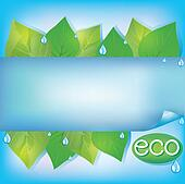 Eco blue background with fresh green leaves