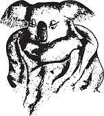 cute koala sketch vector