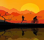 man running and cyclist