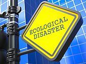 Ecology Concept. Ecological Disaster Waymark.
