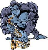 Muscular Cartoon Gorilla Playing Sa