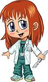 Anime Style Red Haired Doctor Girl