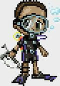 Pixel Art Anime Scuba Diver Boy