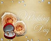 Wedding card with roses in beige