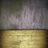Old wall Background with a gold strip from the tree pattern