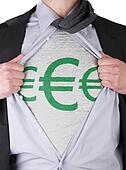 Business man with euro sign t-shirt