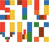 Playing brick toy alphabet letters