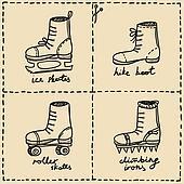 sport shoes doodle set