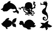 Silhouettes of the different sea creatures