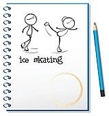 A notebook with an image of two people ice skating
