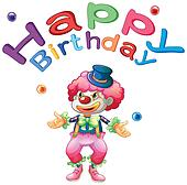 A happy birthday template with a clown
