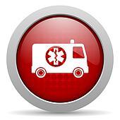 ambulance red circle web glossy icon