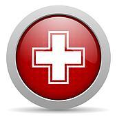 pharmacy red circle web glossy icon