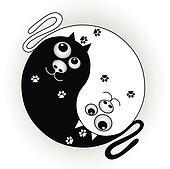 symbol ying yang with cats